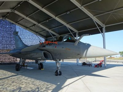 Donecle-s UAV automated drone in front of rafale