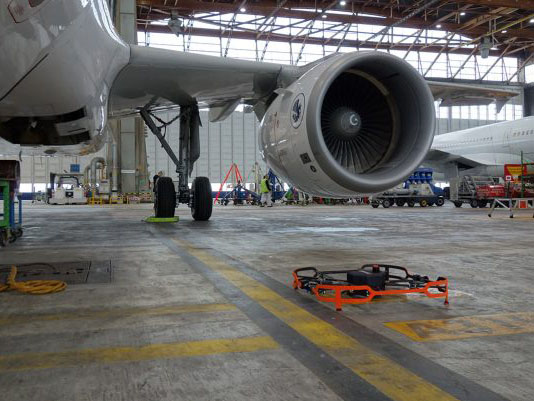 Donecle automated drone for aircraft inspections under A320 wing