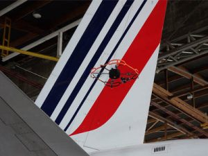 Donecle drone inspecting Air France AFI KLM E&M aircraft tail