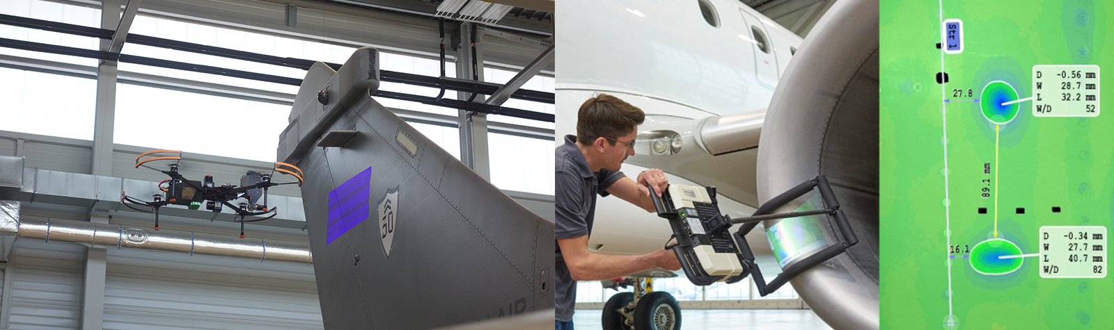 Just one hour:  Drone-based automatic dent inspection of a Rafale aircraft